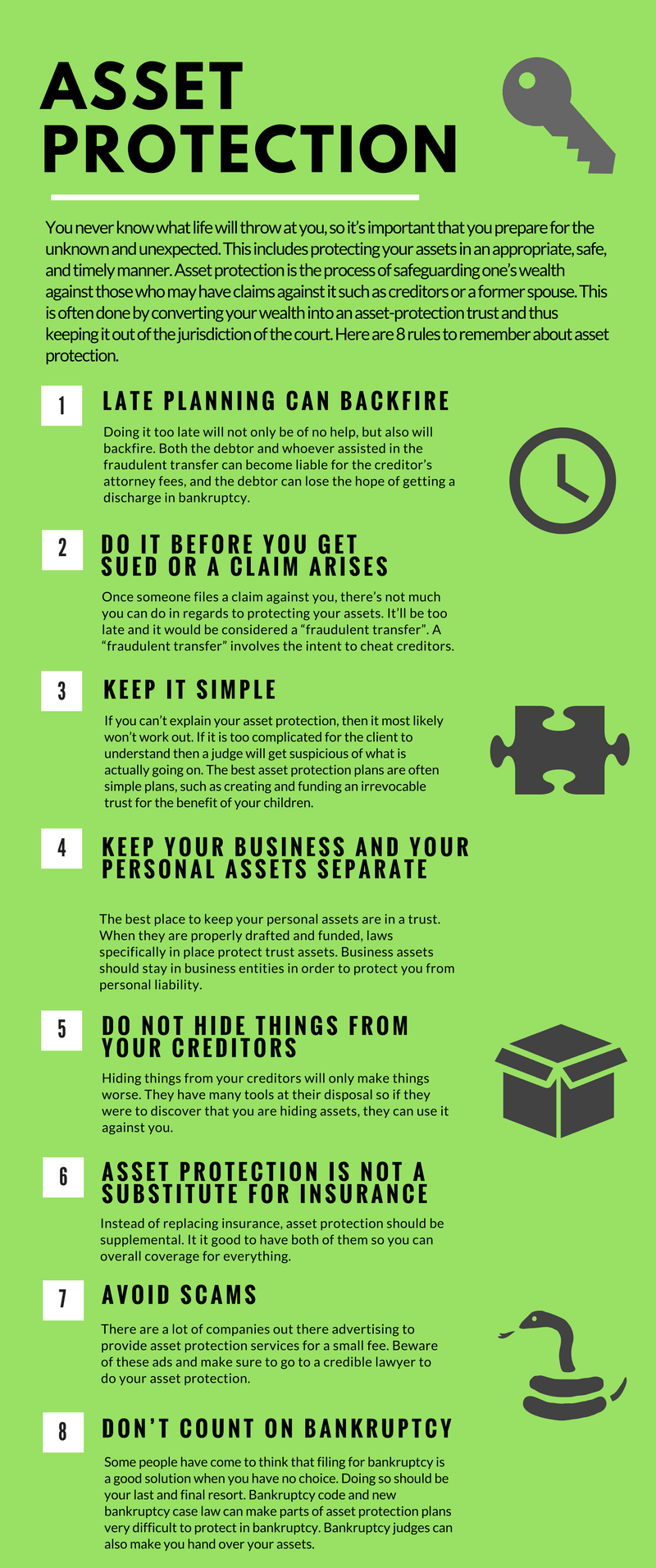 Asset Protection Rules Infographic
