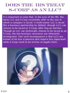 Does the IRS treat S-corporation as an LLC?